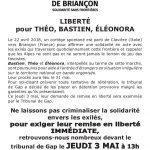 Liberté pour les 3 de Briançon : rdv jeudi 3 mai à  13h devant le tribunal de Gap {ils sont placé-e-s sous CJ cf commentaire}